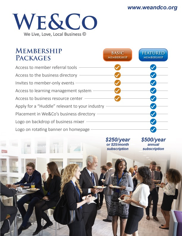 WeAndCo huddle prices cost to join We&Co member membership springfield mo business networking